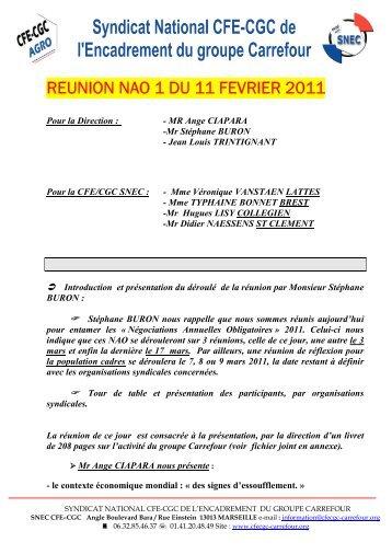 REUNION NAO 1 DU 11 FEVRIER 2011 - SNEC CFE-CGC