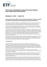 multilevel governance in education and training - EVTA