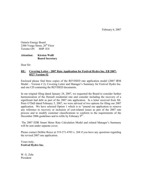 2007 Rate Application Covering Letter Festival Hydro