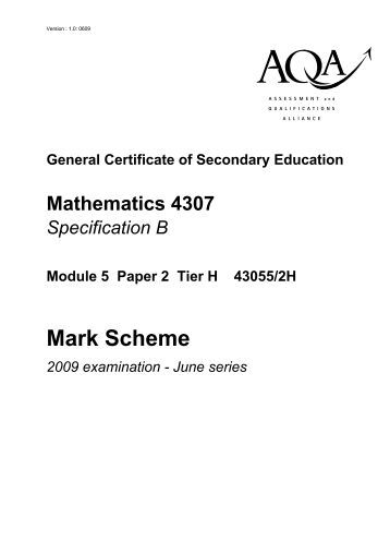 maths coursework mark scheme An essential subject for all learners, cambridge igcse mathematics is a fully examined course which encourages the development of mathematical knowledge as a key life.