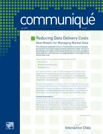 Reducing Data Delivery Costs - Interactive Data Corporation