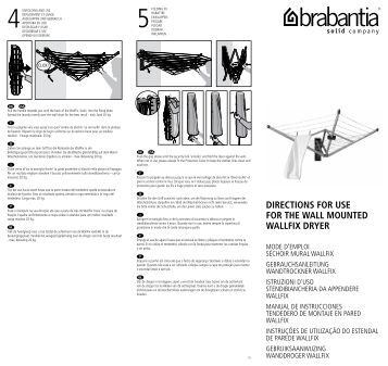 directions for use for the wall mounted wallfix dryer with brabantia. Black Bedroom Furniture Sets. Home Design Ideas
