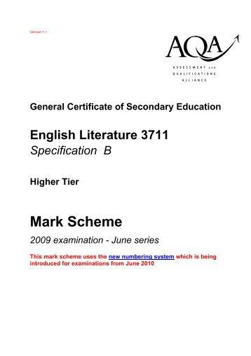 shakespeare coursework mark scheme