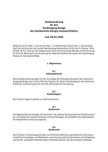 Studienordnung für den Studiengang Design des Fachbereichs ...