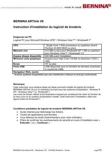 Instruction d'installation_ARTlink_V60F.pdf - Bernina