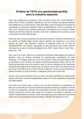 El Nano de TATA una oportunidad perdida para la industria española
