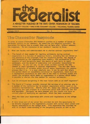 Federalist 1985.11 - SCFT Local 1533