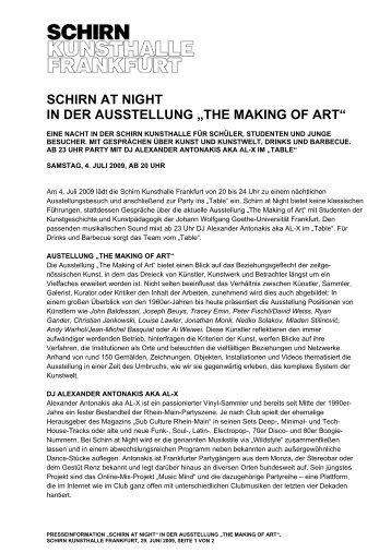 """SCHIRN AT NIGHT IN DER AUSSTELLUNG """"THE MAKING OF ART"""""""