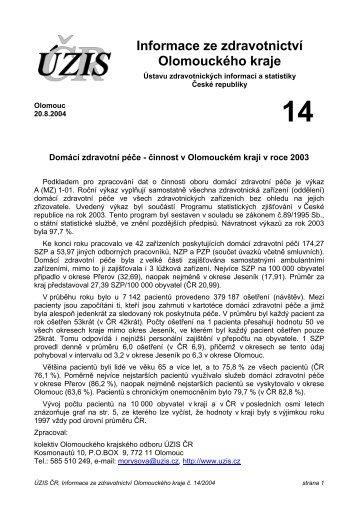 Informace ze zdravotnictví Olomouckého kraje - ÚZIS ČR
