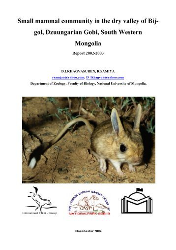 Small mammal community in the dry valley of Bij- gol, Dzuungarian ...