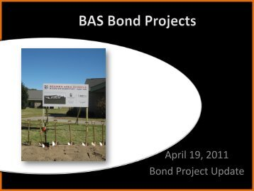 April 19, 2011 Bond Project Update - Belding Area Schools