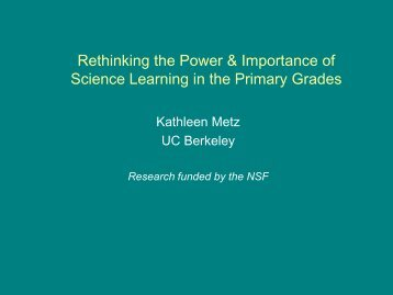 Rethinking the Power & Importance of Science Learning in the ...