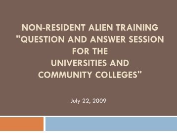 """Non-Resident Alien Training """"Question and Answer Session for the ..."""