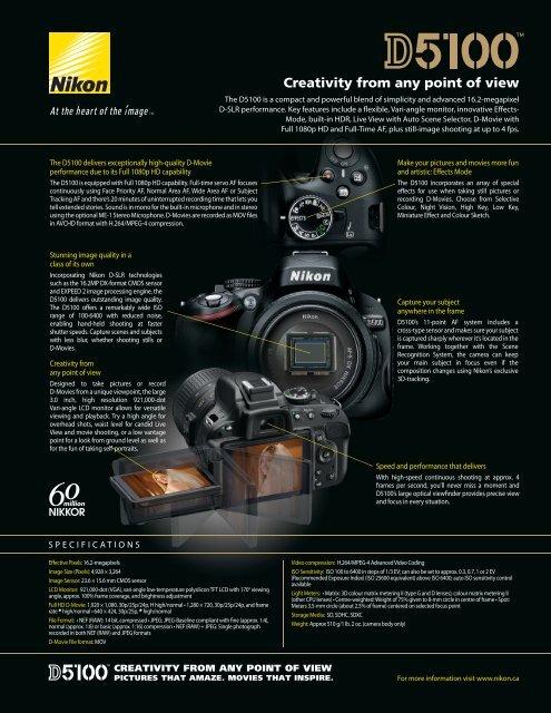 Download Nikon D5100 Brochure - Vistek