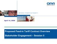 Session 5 - Ontario Power Authority - Feed-in Tariff Program