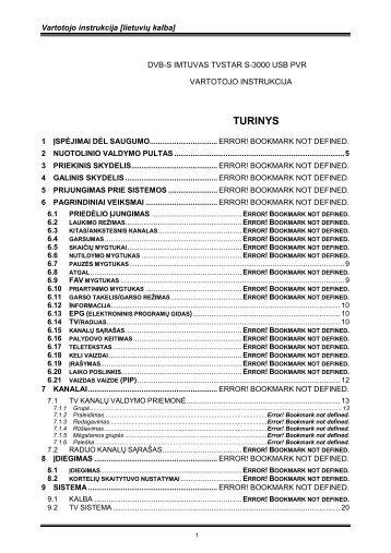 TURINYS - TV STAR