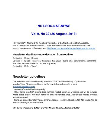 Vol 9, no 32 - Nutrition Society of Australia