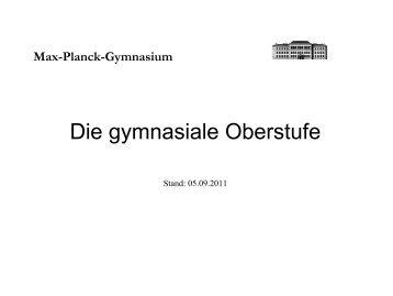 ziele der gymnasialen oberstufe - Max-Planck-Gymnasium Göttingen