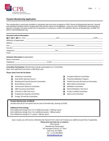 Panelist Enrollment Form - CPR Institute for Dispute Resolution