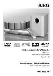 Home Cinema / DVD Kombination Bedienungsanleitung ... - Clatronic