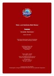 Preisliste für Hersteller: Bachmann - und Getränke-Welt Weiser