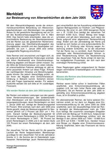 Merkblatt zur Besteuerung von Alterseinkünften ab dem Jahr 2005 ...