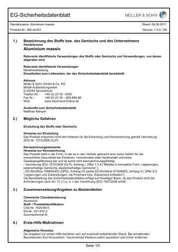 Sicherheitsdatenblatt Aluminium M&S 2011