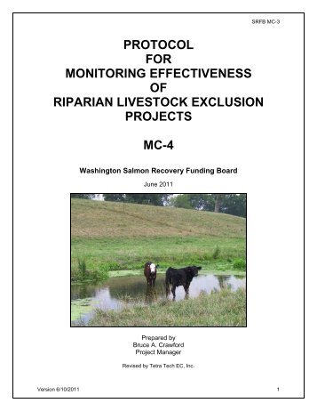 protocol for monitoring effectiveness of riparian livestock exclusion ...