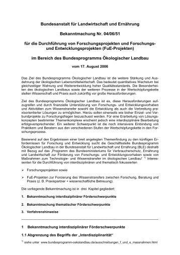 Bekanntmachung Nr. 04/06/51 für die Durchführung von ...
