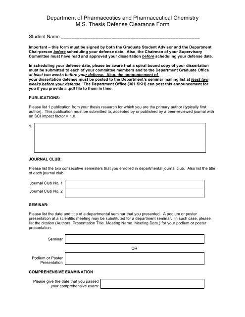 Master's Program Defense Clearance Form