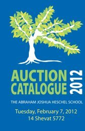 Auction 2012 Catalogue. - The Heschel School