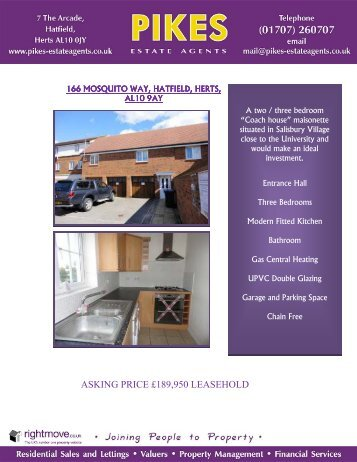 ASKING PRICE £189,950 LEASEHOLD - Pikes