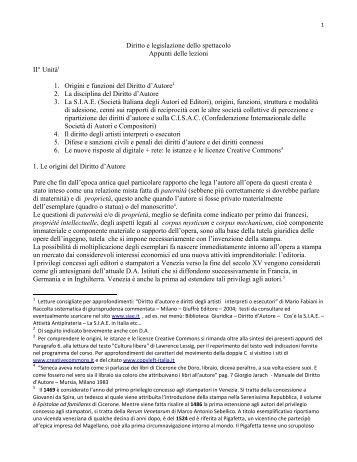 Diritto e legislazione dello spettacolo Appunti delle lezioni II° Unità1 ...