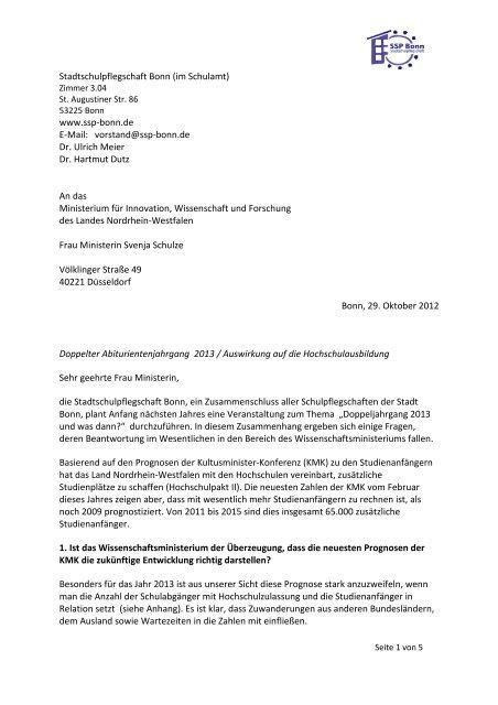 Schreiben An Die Wissenschaftsministerin Svenja Schulz