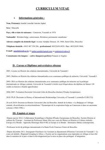 CV - Faculté des Sciences sociales et politiques - Université Libre ...