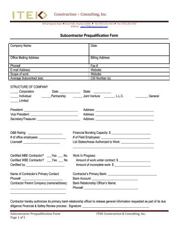 subcontractor prequalification form - Small Business Program - Amec