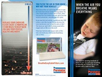 Purolator® BreatheEasy Cabin Filter Brochure - Purolator Auto Oil ...