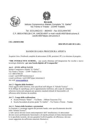 "Bando LIM - I.C. ""G. Galilei"" Tradate"
