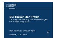 Die Tücken der Praxis - TU Dresden goes mobile