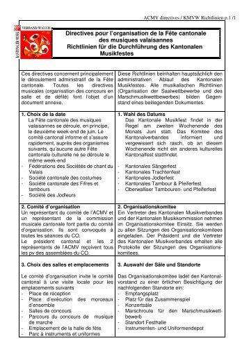 Richtlinien zur Durchführung eines Kantonalen Musikfestes - ACMV