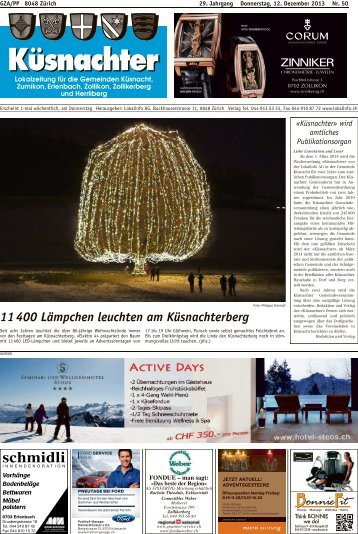 11 400 Lämpchen leuchten am Küsnachterberg - Lokalinfo AG