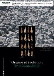 Origine et évolution de la biodiversité - Agropolis International