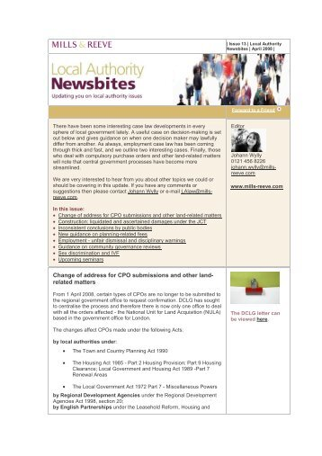 Local Authority Newsbites - April 2008 - Mills & Reeve