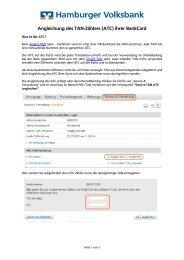 Angleichen TAN-Zähler (ATC) - Hamburger Volksbank