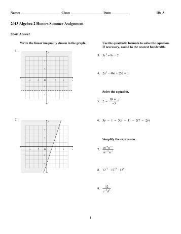 honors algebra 2 summer review assignment answers