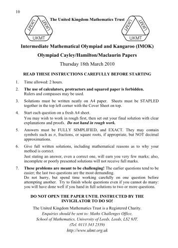intermediate mathematical olympiad papers British mathematical olympiad, round 1 (bmo 1) this is a 3½-hour paper with 6 problems (the first being intended to be more accessible than the rest).