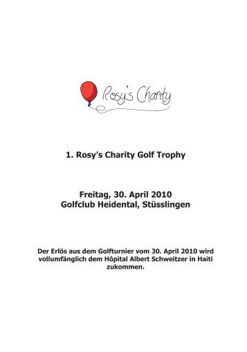 Rosy's Charity Golf Trophy