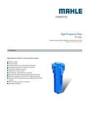 High Pressure Filter Pi 422 - MAHLE Industry - Filtration