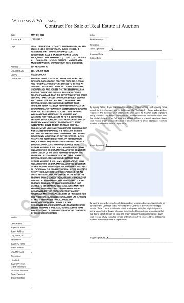 Contract For Sale of Real Estate at Auction - Williams & Williams