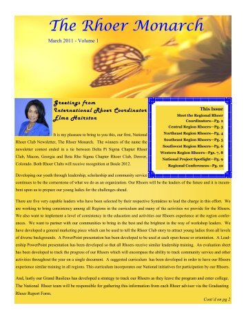 The Rhoer Monarch - Sigma Gamma Rho Sorority, Inc.